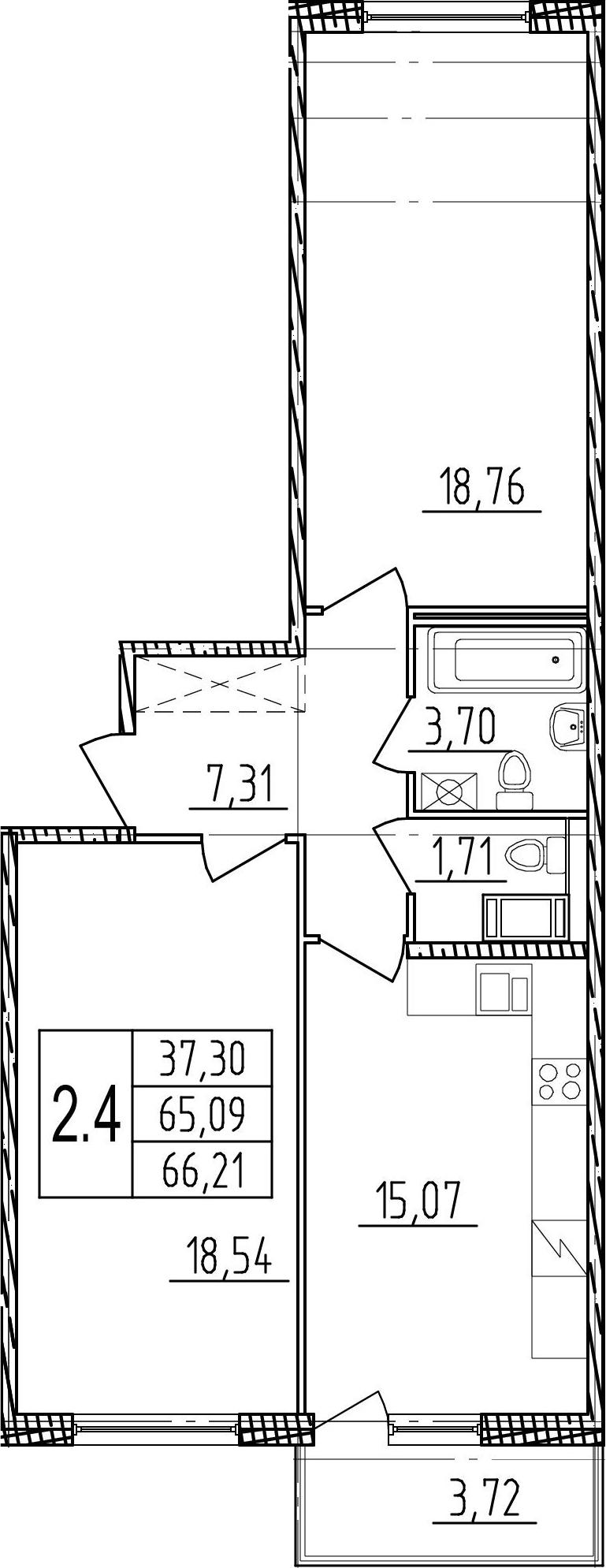 2-комнатная, 65.09 м²– 2