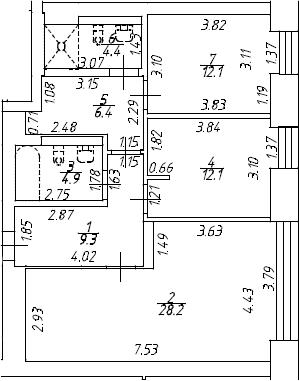 3Е-к.кв, 77.4 м², 8 этаж
