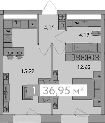 2-к.кв (евро), 36.95 м²