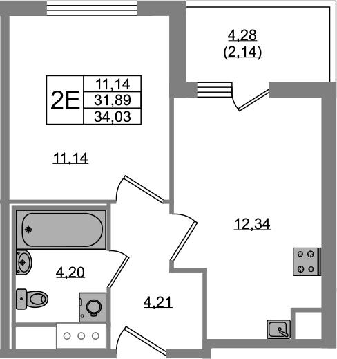 2Е-к.кв, 31.89 м², 2 этаж
