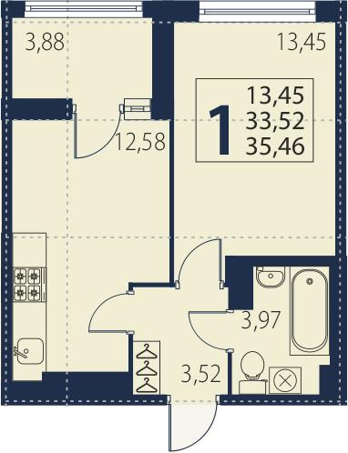 2-к.кв (евро), 37.4 м²