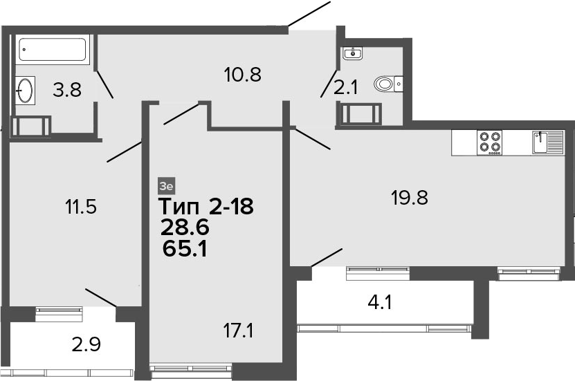 3Е-к.кв, 65.1 м², от 20 этажа