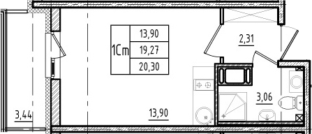 Студия, 19.27 м²
