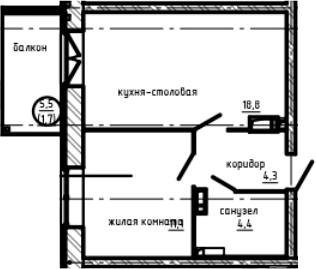 1-к.кв, 40.3 м², 9 этаж