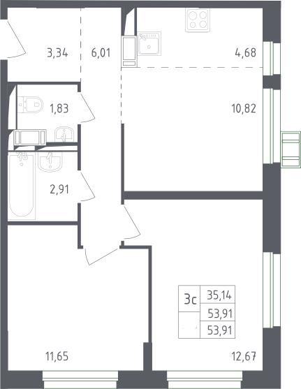 3Е-к.кв, 53.91 м², 13 этаж
