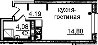 Студия, 23.07 м²