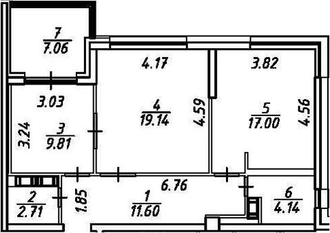 2-к.кв, 71.46 м²