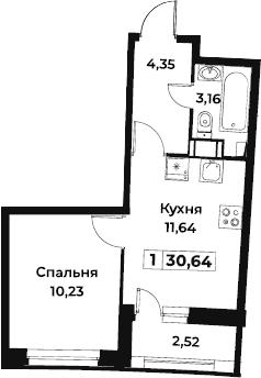 1-к.кв, 30.64 м², от 4 этажа