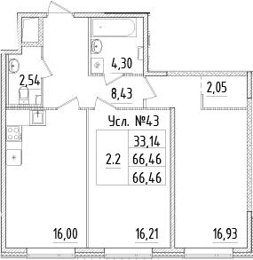 3-к.кв (евро), 66.46 м²