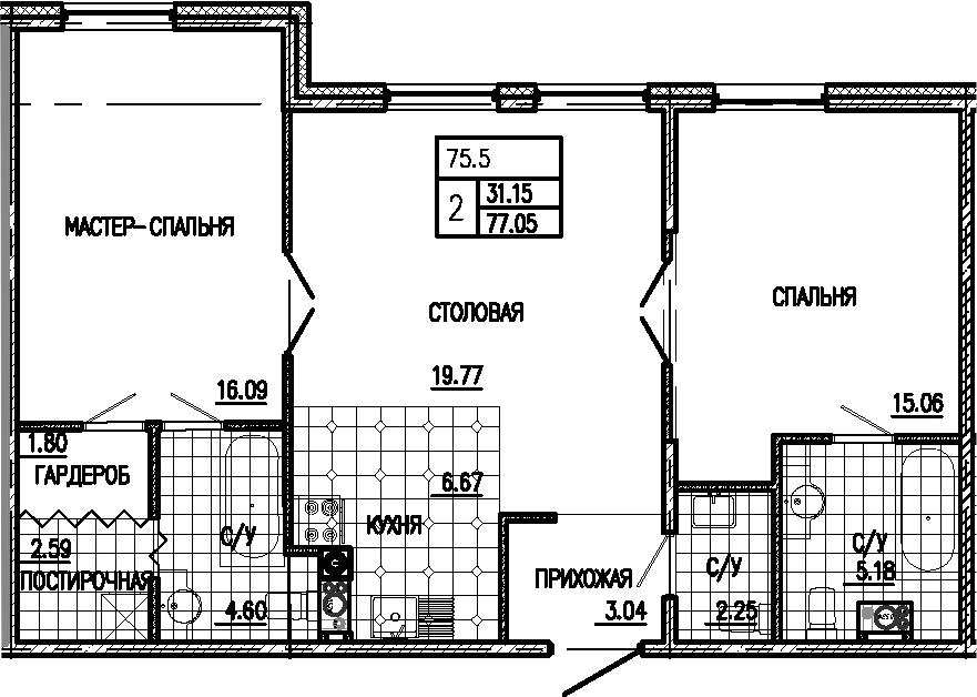 3Е-к.кв, 77.05 м²
