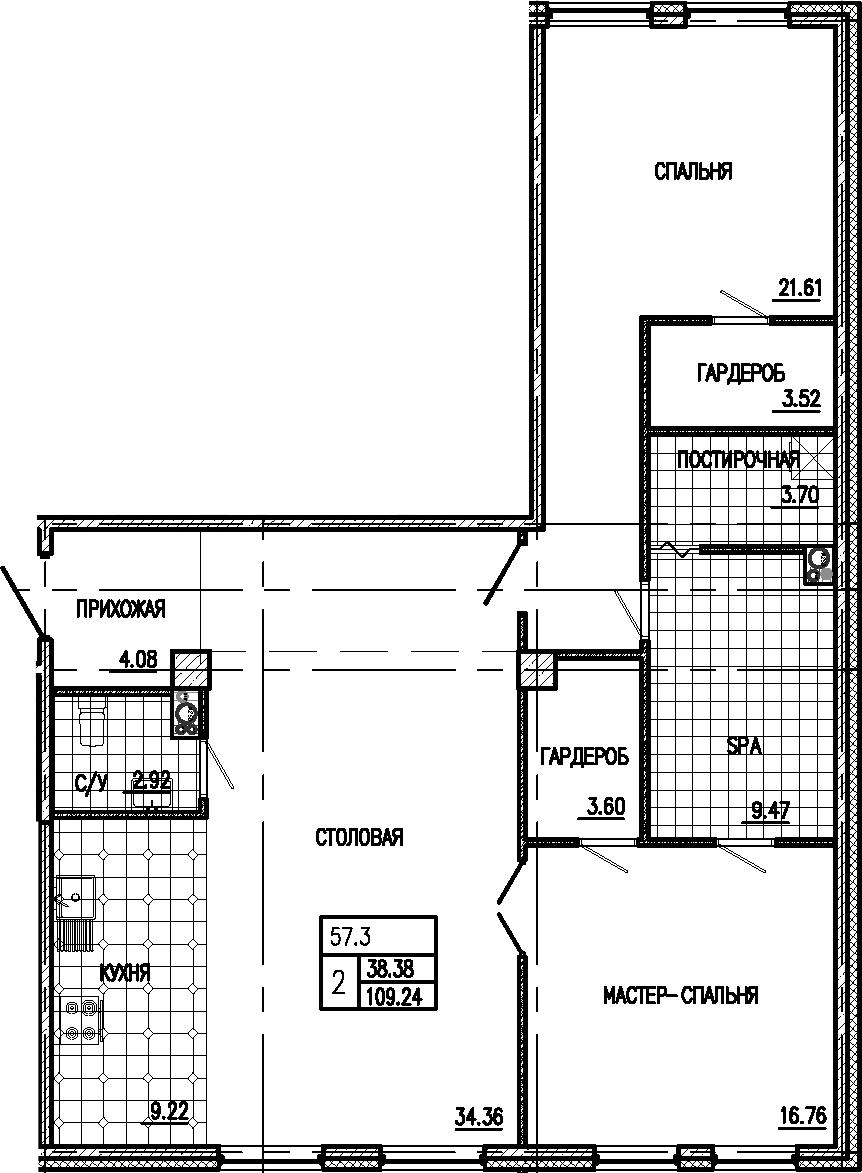 3Е-к.кв, 109.24 м²