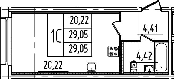 Студия, 29.05 м²
