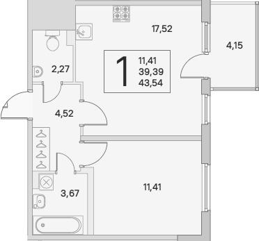 2Е-комнатная, 40.64 м²– 2