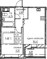 2Е-комнатная, 35.37 м²– 2