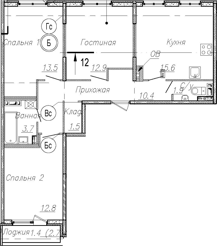 4Е-к.кв, 72.3 м²