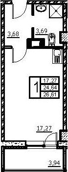 Студия, 26.61 м², 4 этаж
