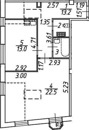 1-комнатная, 54.6 м²– 2