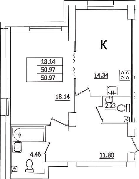 1-к.кв, 50.97 м²