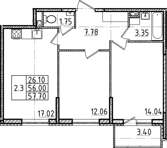 3Е-к.кв, 57.7 м²