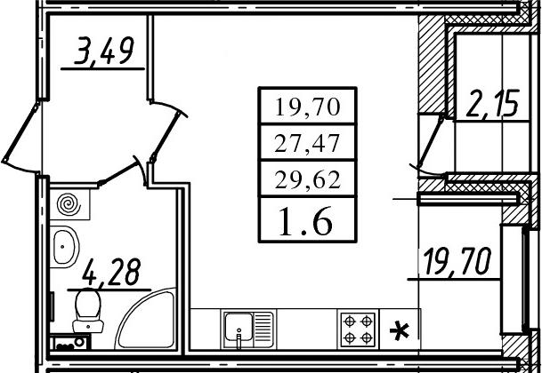 Студия, 29.62 м²