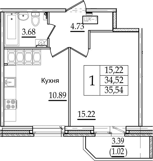 1-комнатная, 35.54 м²– 2