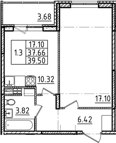 1-комнатная, 39.5 м²– 2