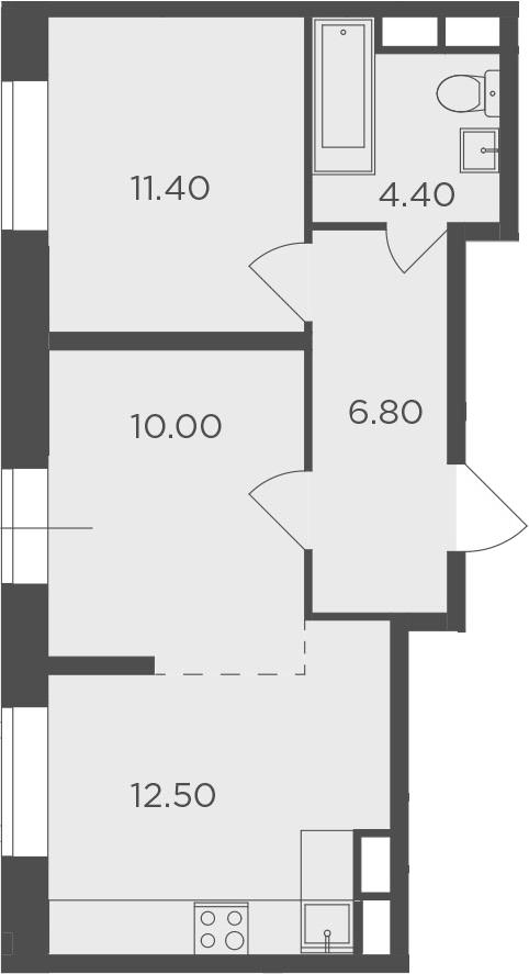2-к.кв, 45.1 м²