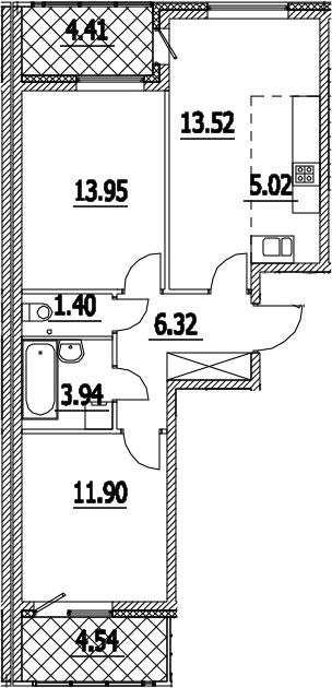 3Е-к.кв, 60.53 м², 2 этаж