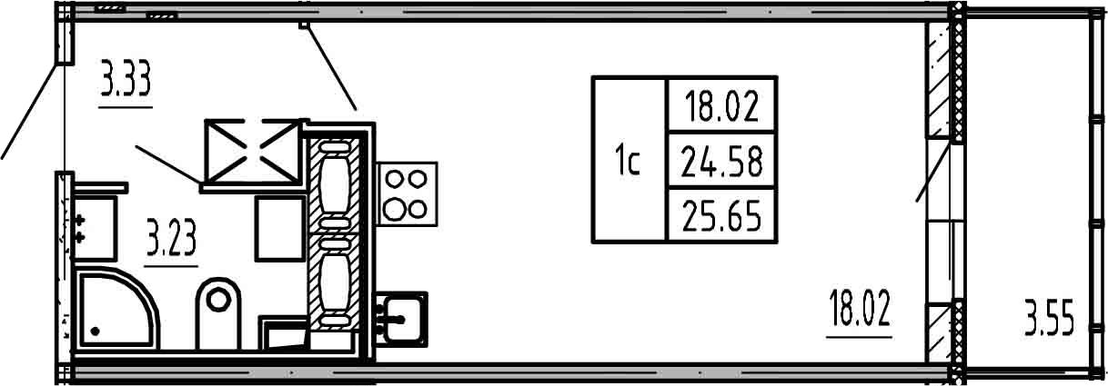 Студия, 24.58 м², 25 этаж