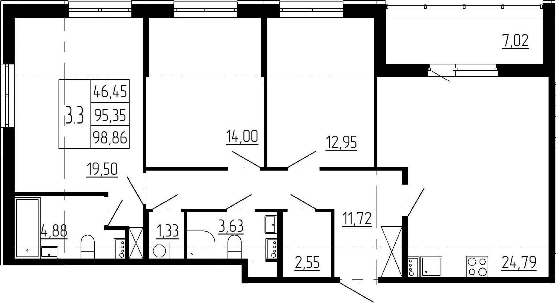 4-к.кв (евро), 102.37 м²