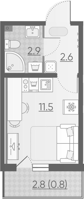 Студия, 17.8 м², 2 этаж – Планировка
