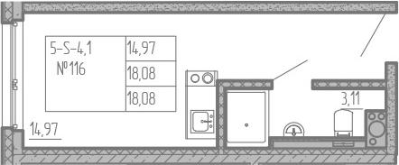 Студия, 18.08 м², от 5 этажа