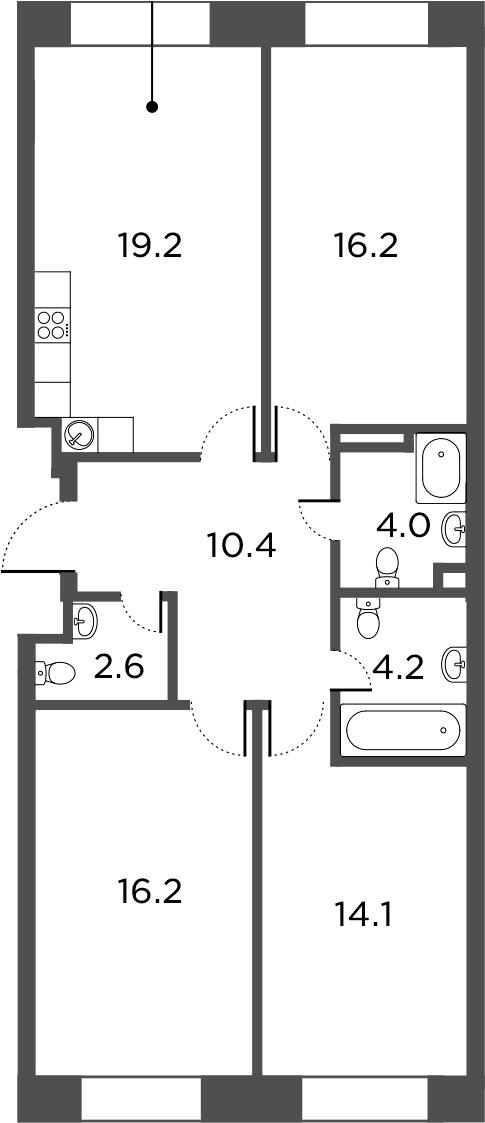 4Е-к.кв, 86.9 м²