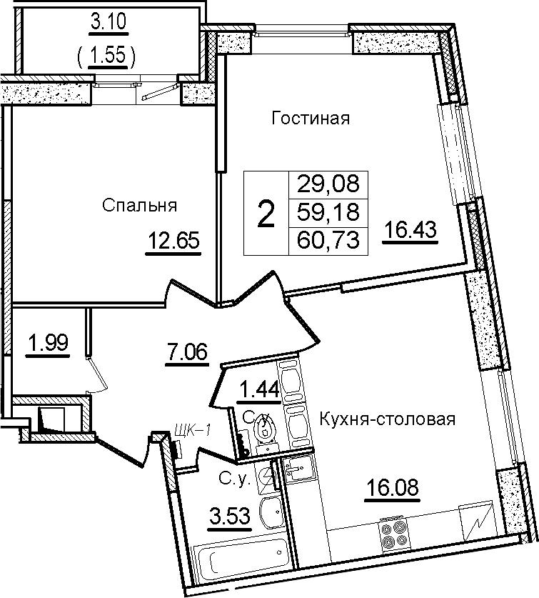 3Е-к.кв, 60.73 м²