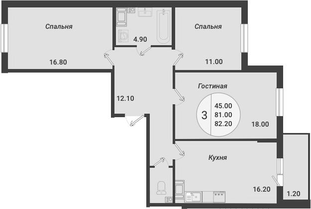 4Е-комнатная, 82.2 м²– 2