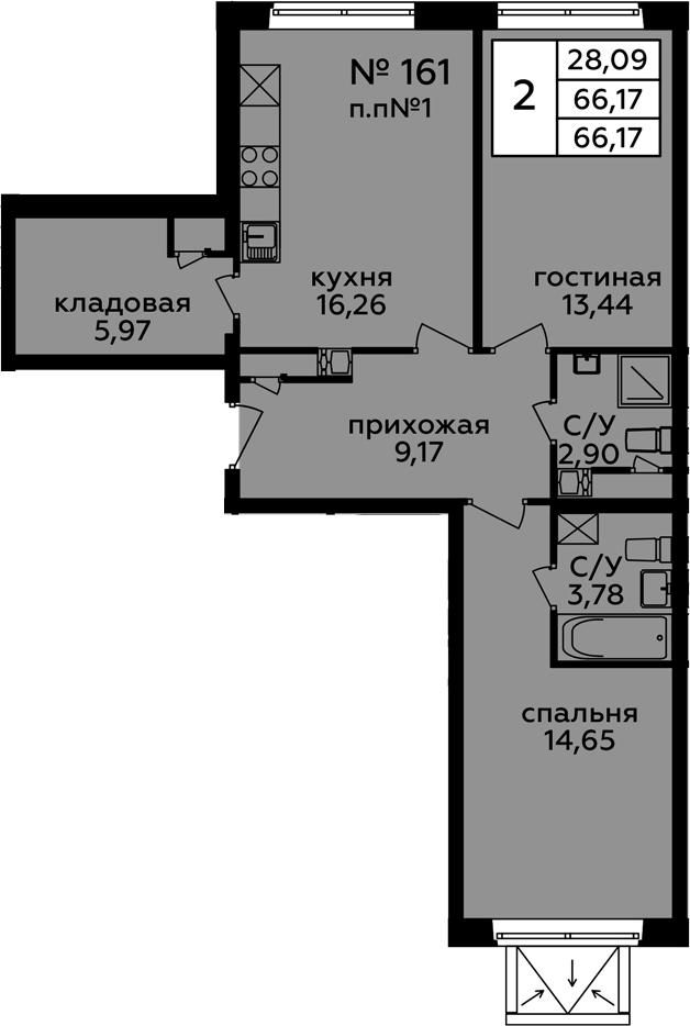 3-к.кв (евро), 66.17 м²