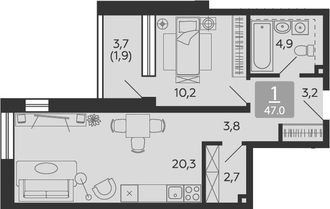 2Е-к.кв, 47 м², 2 этаж