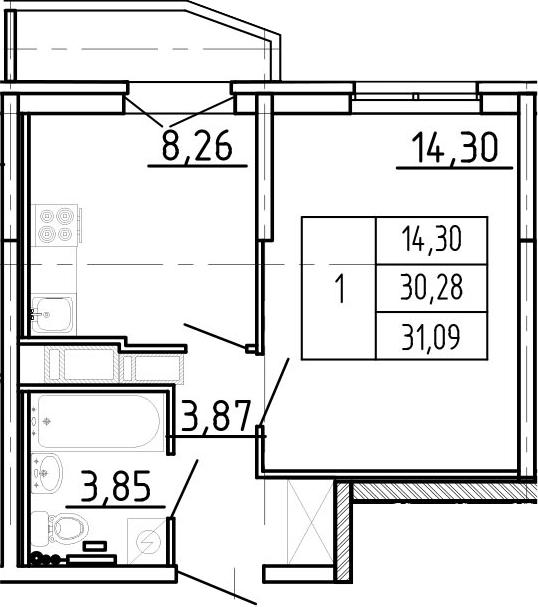 1-к.кв, 32.98 м²