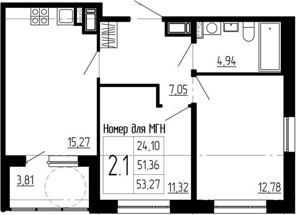 3Е-комнатная, 51.36 м²– 2