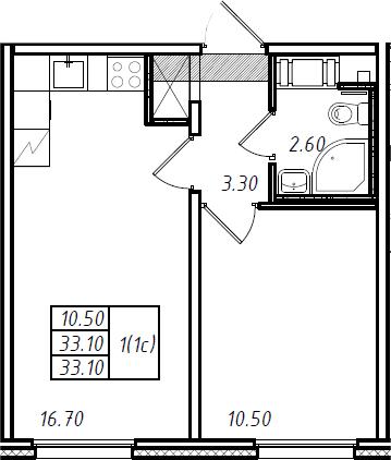 2Е-к.кв, 33.1 м², 3 этаж