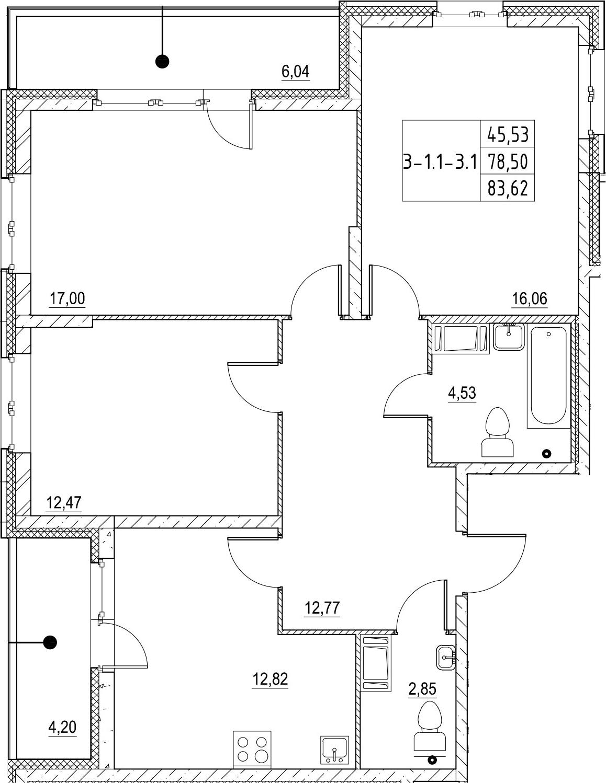 3-к.кв, 83.62 м²