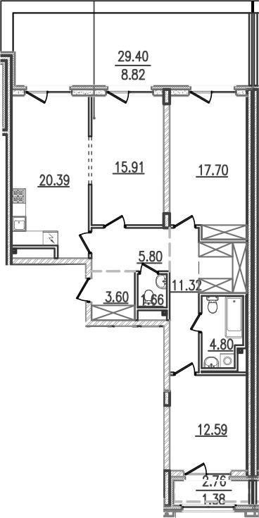 4-к.кв (евро), 125.93 м²