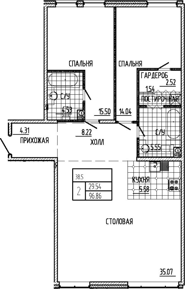 3-к.кв (евро), 96.86 м²