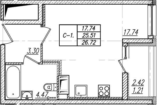 Студия, 27.93 м²