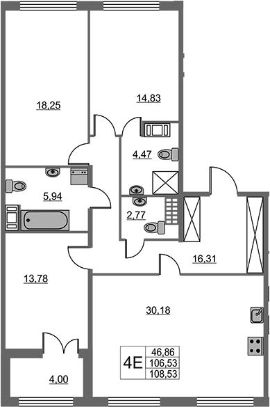 4Е-к.кв, 106.53 м², 5 этаж