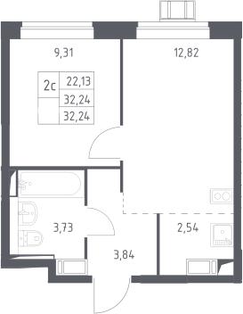 2Е-комнатная, 32.24 м²– 2