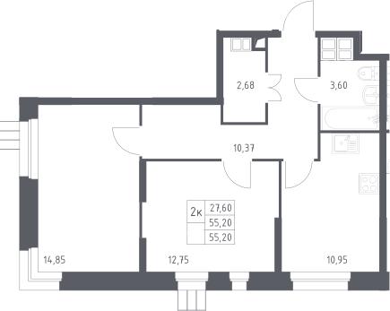 2-к.кв, 55.2 м²