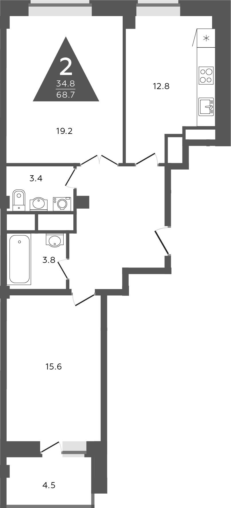 2-комнатная, 68.7 м²– 2