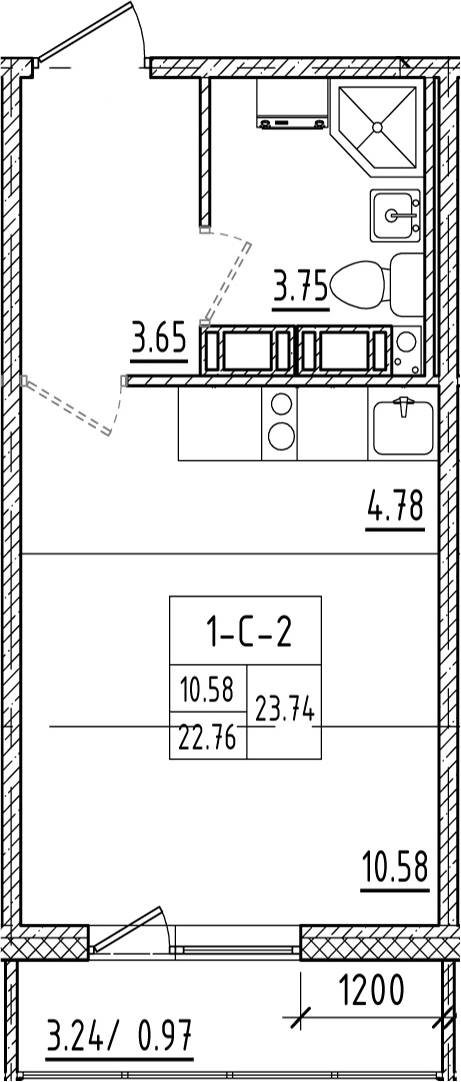 Студия, 23.76 м²
