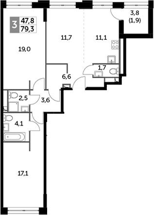 3Е-к.кв, 79.3 м², 17 этаж